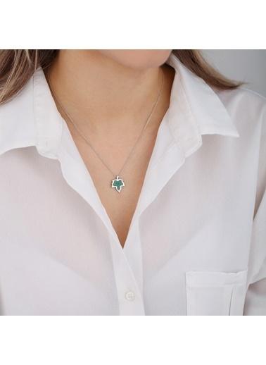 Online Takı Gümüş Yaprak Kolye Renkli